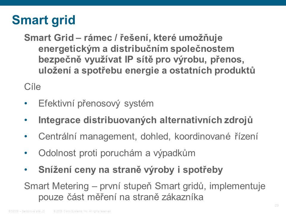 23 © 2009 Cisco Systems, Inc. All rights reserved. EO2009 – Senzorové sítě JC Smart grid Smart Grid – rámec / řešení, které umožňuje energetickým a di