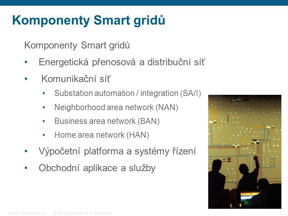 24 © 2009 Cisco Systems, Inc. All rights reserved. EO2009 – Senzorové sítě JC Komponenty Smart gridů Energetická přenosová a distribuční síť Komunikač