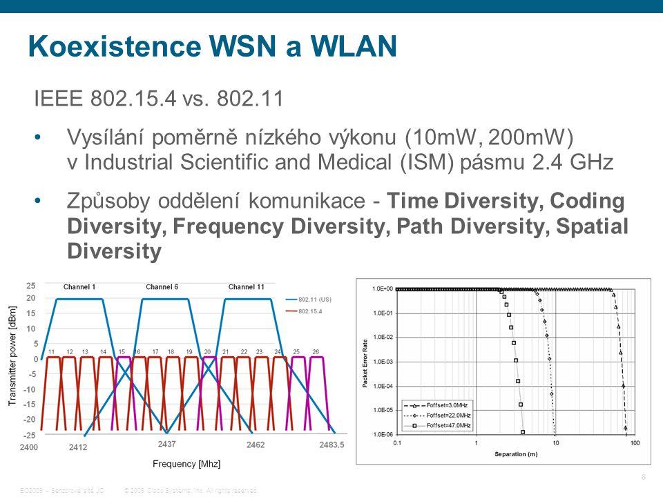 8 © 2009 Cisco Systems, Inc. All rights reserved. EO2009 – Senzorové sítě JC Koexistence WSN a WLAN IEEE 802.15.4 vs. 802.11 Vysílání poměrně nízkého
