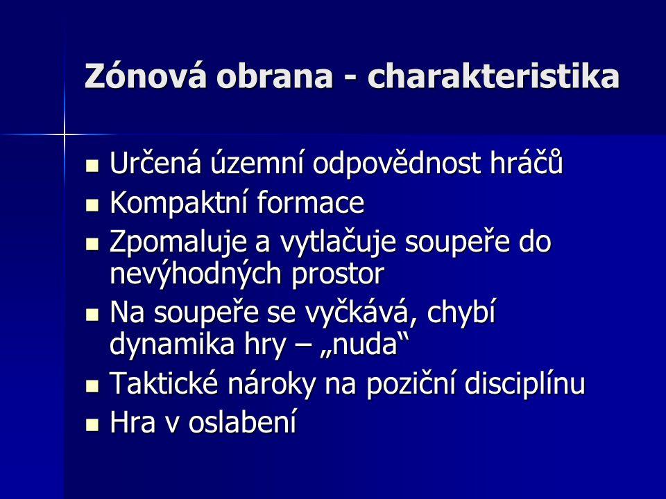 Zónová obrana - charakteristika Určená územní odpovědnost hráčů Určená územní odpovědnost hráčů Kompaktní formace Kompaktní formace Zpomaluje a vytlač
