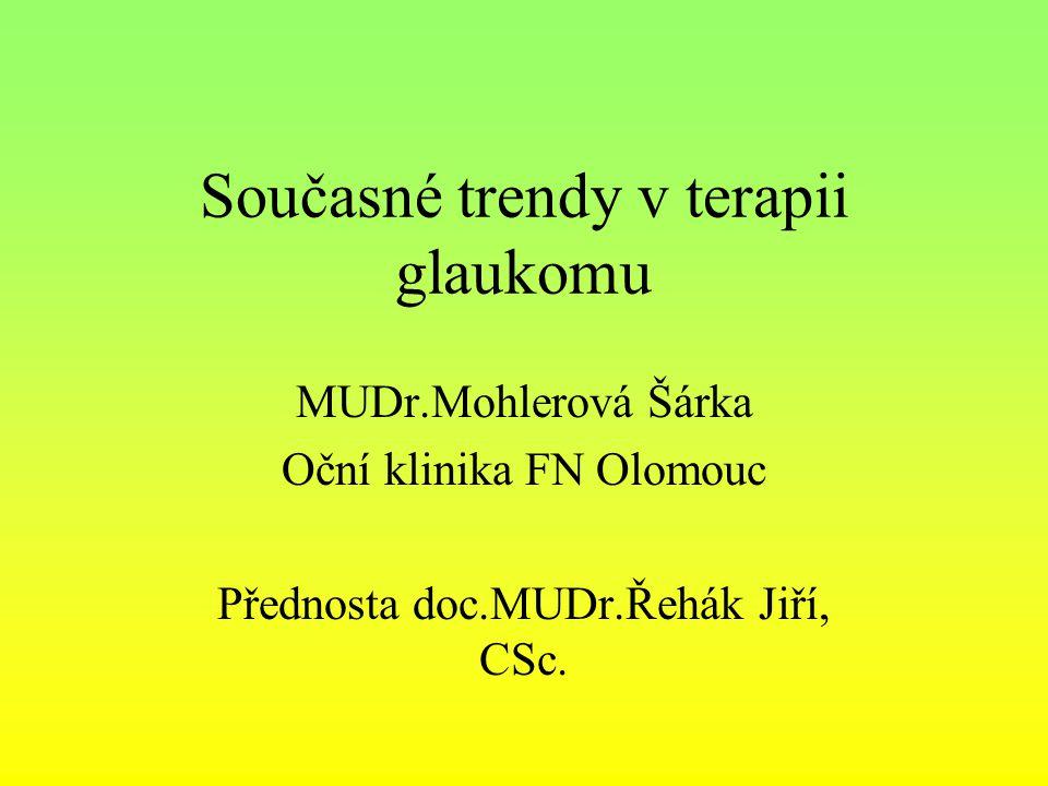 Současné trendy v terapii glaukomu MUDr.Mohlerová Šárka Oční klinika FN Olomouc Přednosta doc.MUDr.Řehák Jiří, CSc.