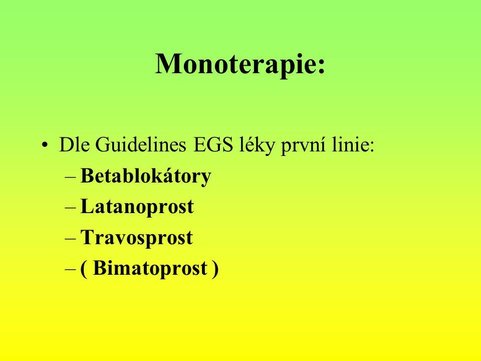 Monoterapie: Dle Guidelines EGS léky první linie: –Betablokátory –Latanoprost –Travosprost –( Bimatoprost )