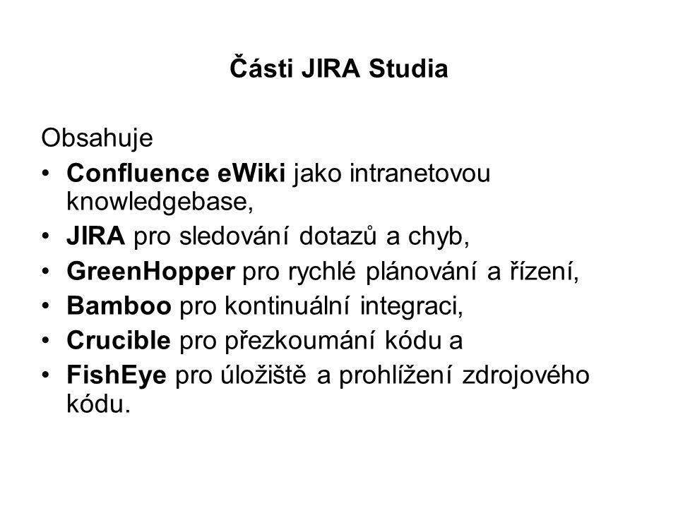 Části JIRA Studia Obsahuje Confluence eWiki jako intranetovou knowledgebase, JIRA pro sledování dotazů a chyb, GreenHopper pro rychlé plánování a říze