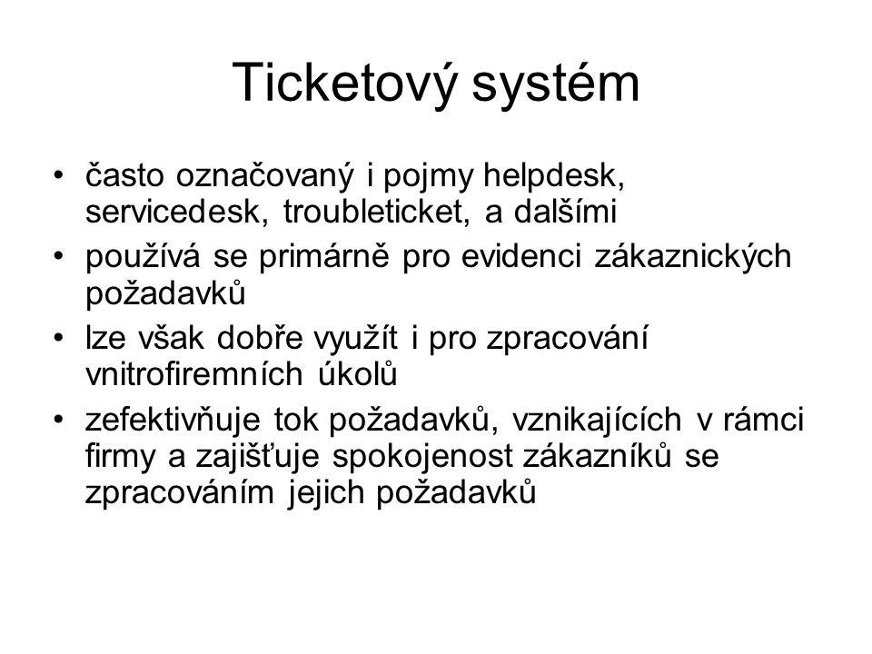 Ticketový systém často označovaný i pojmy helpdesk, servicedesk, troubleticket, a dalšími používá se primárně pro evidenci zákaznických požadavků lze
