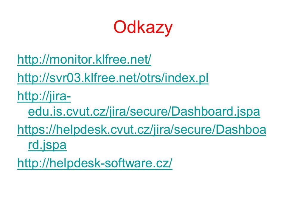 Odkazy http://monitor.klfree.net/ http://svr03.klfree.net/otrs/index.pl http://jira- edu.is.cvut.cz/jira/secure/Dashboard.jspa https://helpdesk.cvut.c