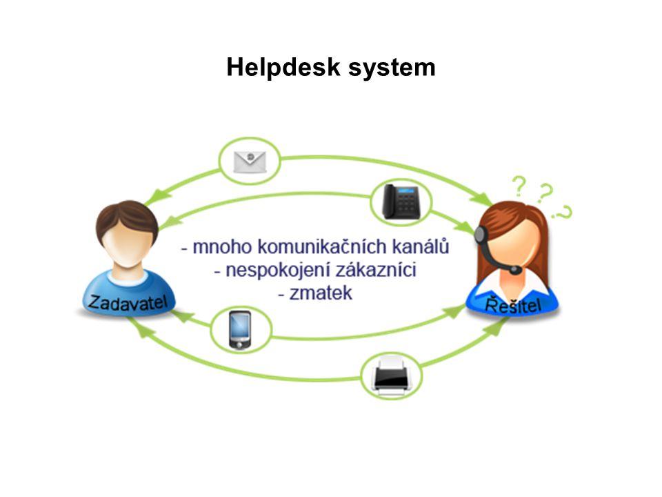 OTRS – Open Ticket Request System jeden z nejlepších open-sourcových helpdeskových systémů současnosti velmi robustní navrhovaný na řízení velkého počtu zákaznických dotazů (víc než tisíce denně) automatická odpověď klientovi automatické přiřazení řešitele problému automatické přiřazení čísla tiketu reporting a statistiky další za pomocí modulů jako ITSM-ITIL (IT service management-Information Technology Infrastructure Library)