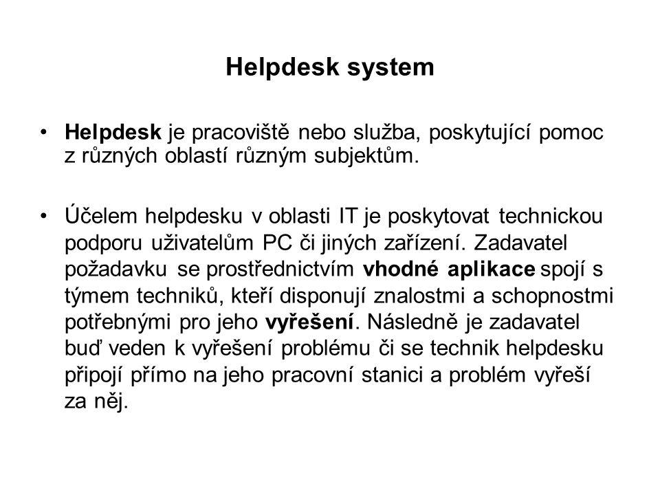 Helpdesk system Při nasazení externího helpdesku poskytuje firma podporu svým zákazníků nebo partnerům.