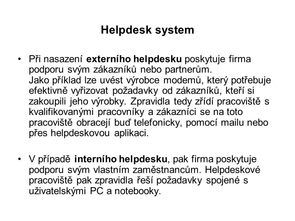 Helpdesk system Při nasazení externího helpdesku poskytuje firma podporu svým zákazníků nebo partnerům. Jako příklad lze uvést výrobce modemů, který p