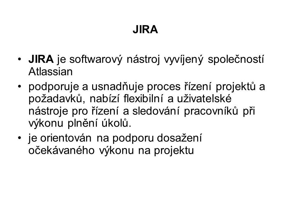JIRA JIRA je softwarový nástroj vyvíjený společností Atlassian podporuje a usnadňuje proces řízení projektů a požadavků, nabízí flexibilní a uživatels