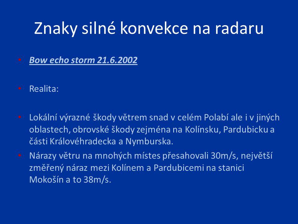 Bow echo storm 21.6.2002 Realita: Lokální výrazné škody větrem snad v celém Polabí ale i v jiných oblastech, obrovské škody zejména na Kolínsku, Pardu