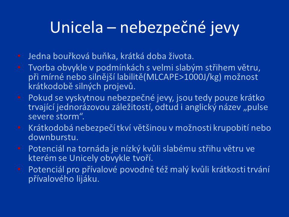Unicela – nebezpečné jevy Jedna bouřková buňka, krátká doba života. Tvorba obvykle v podmínkách s velmi slabým střihem větru, při mírné nebo silnější