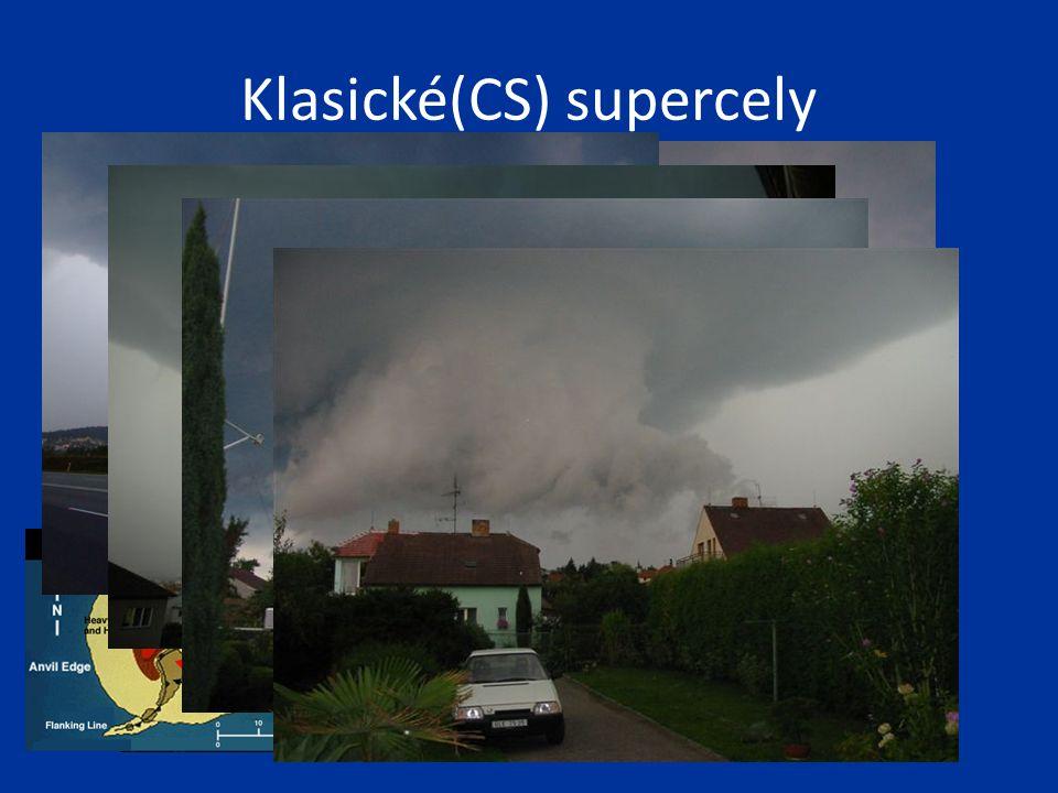 Klasické(CS) supercely Wall cloud Rain free base, základna bez viditelných srážek(updraft base) Funnel cloud ? Srážky čelního downdraftu (FFD)