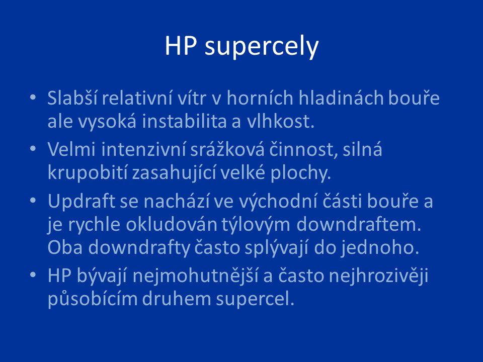 HP supercely Slabší relativní vítr v horních hladinách bouře ale vysoká instabilita a vlhkost. Velmi intenzivní srážková činnost, silná krupobití zasa