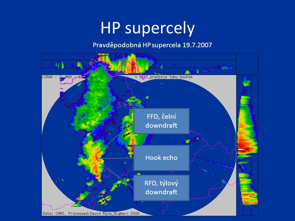 Pravděpodobná HP supercela 19.7.2007 Hook echo FFD, čelní downdraft RFD, týlový downdraft