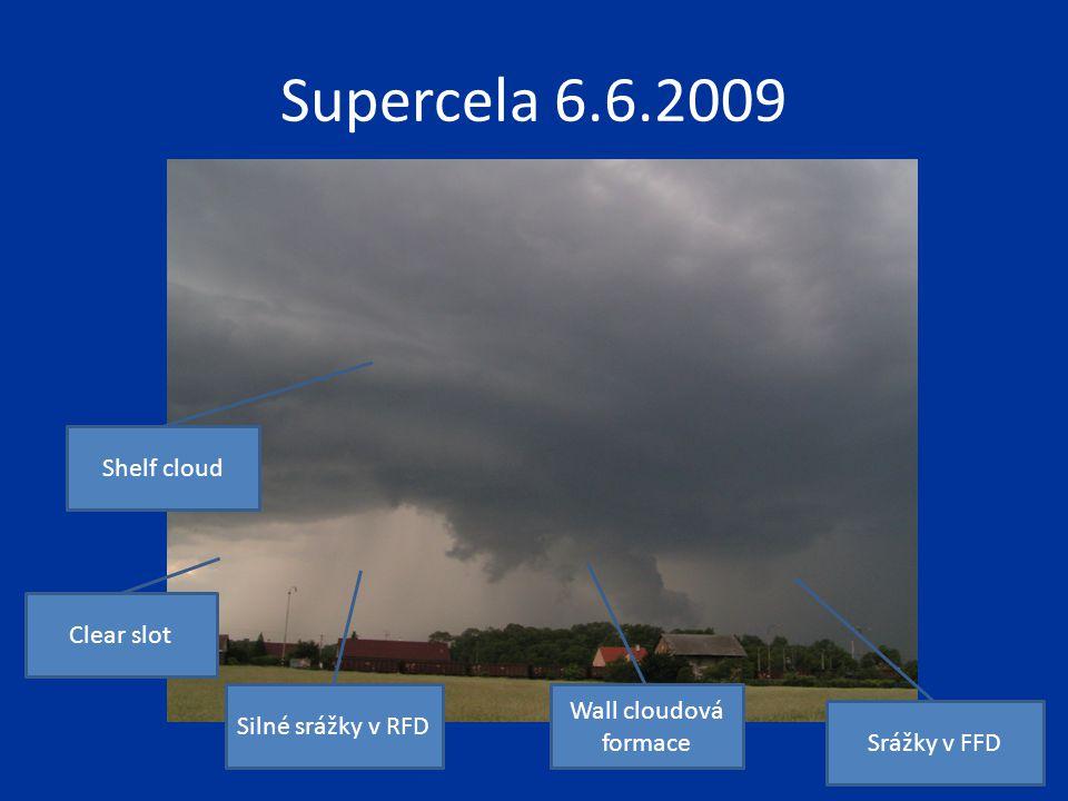 Supercela 6.6.2009 Wall cloudová formace Clear slot Silné srážky v RFD Srážky v FFD Shelf cloud