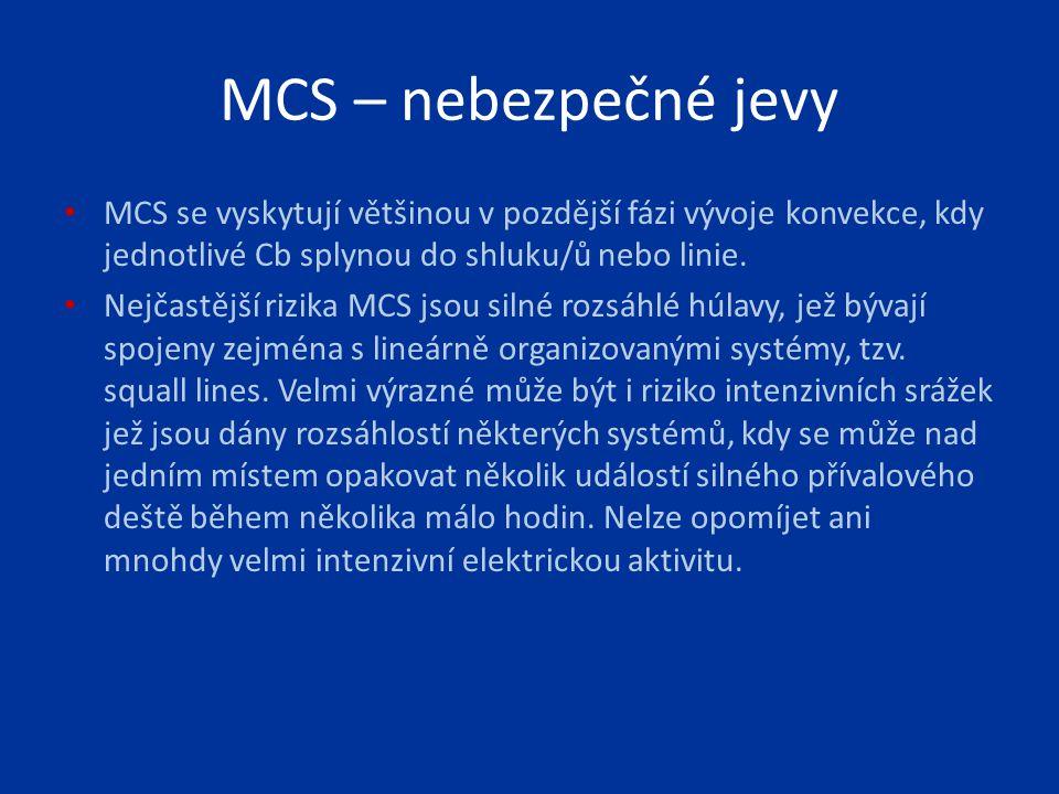 MCS – nebezpečné jevy MCS se vyskytují většinou v pozdější fázi vývoje konvekce, kdy jednotlivé Cb splynou do shluku/ů nebo linie. Nejčastější rizika