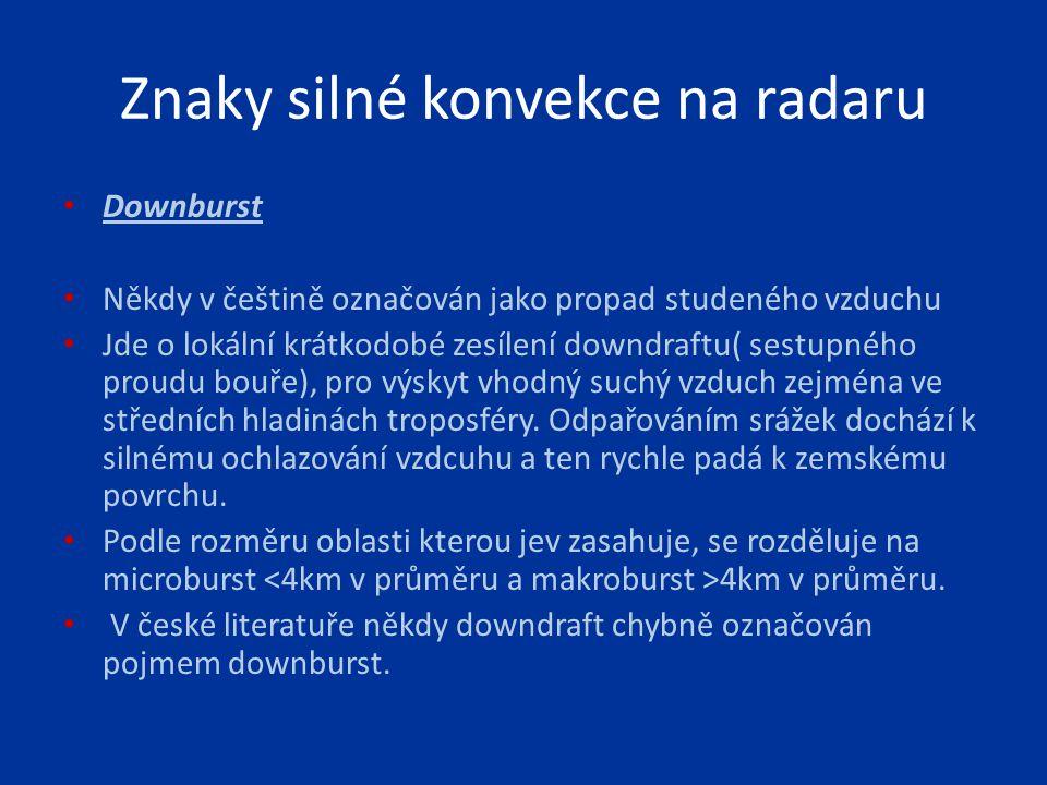 Znaky silné konvekce na radaru Downburst Někdy v češtině označován jako propad studeného vzduchu Jde o lokální krátkodobé zesílení downdraftu( sestupn
