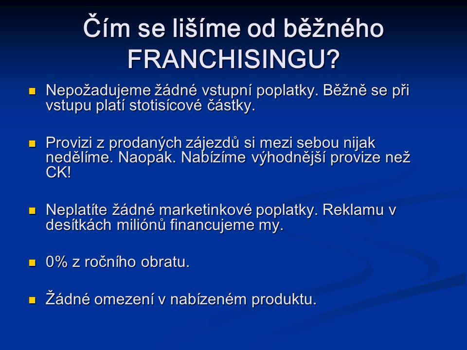 Čím se lišíme od běžného FRANCHISINGU.Nepožadujeme žádné vstupní poplatky.