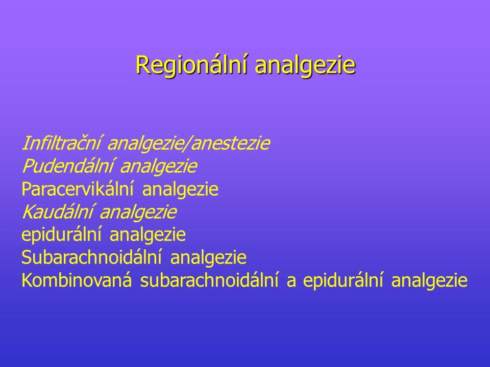 Regionální analgezie Infiltrační analgezie/anestezie Pudendální analgezie Paracervikální analgezie Kaudální analgezie epidurální analgezie Subarachnoidální analgezie Kombinovaná subarachnoidální a epidurální analgezie