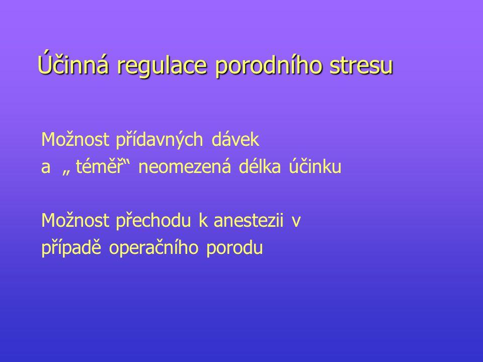 """Účinná regulace porodního stresu Možnost přídavných dávek a """" téměř neomezená délka účinku Možnost přechodu k anestezii v případě operačního porodu"""