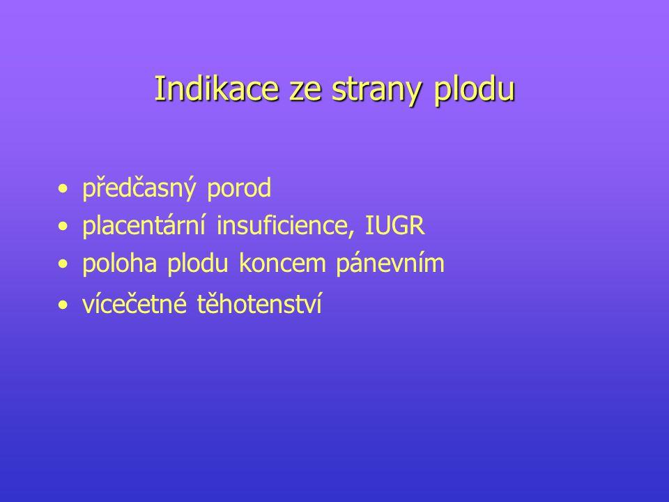 Indikace ze strany plodu předčasný porod placentární insuficience, IUGR poloha plodu koncem pánevním vícečetné těhotenství