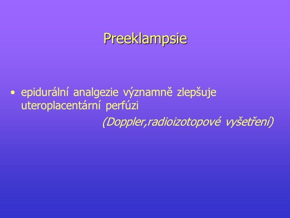Preeklampsie epidurální analgezie významně zlepšuje uteroplacentární perfúzi (Doppler,radioizotopové vyšetření)