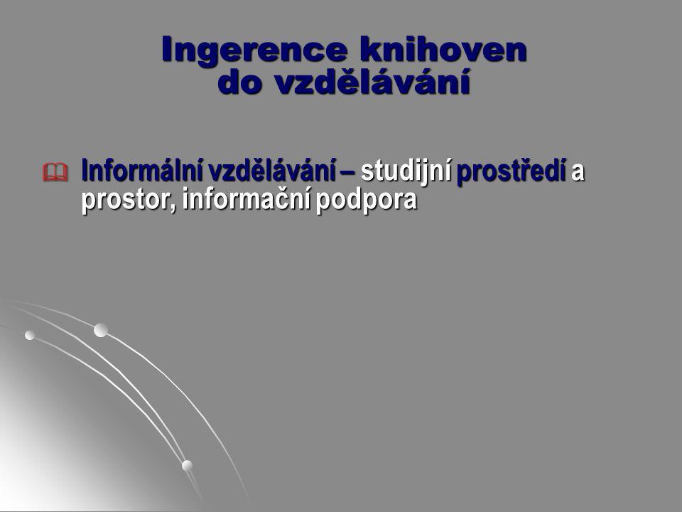 Ingerence knihoven do vzdělávání  Formální vzdělávání – podpora informační, studijní, u specializovaných knihoven včetně akademických též výzkumná ad.