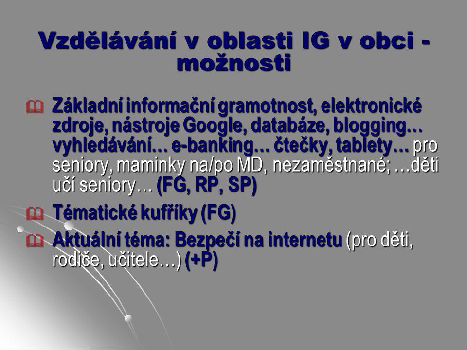 Vzdělávání v oblasti IG v obci - možnosti  Základní informační gramotnost, elektronické zdroje, nástroje Google, databáze, blogging… vyhledávání… e-b