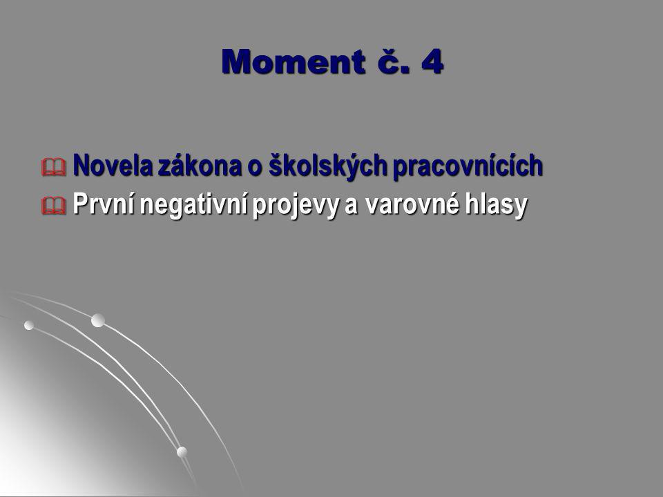 Moment č. 4  Novela zákona o školských pracovnících  První negativní projevy a varovné hlasy