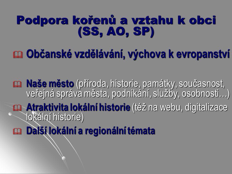 Podpora kořenů a vztahu k obci (SS, AO, SP)  Občanské vzdělávání, výchova k evropanství  Naše město (příroda, historie, památky, současnost, veřejná