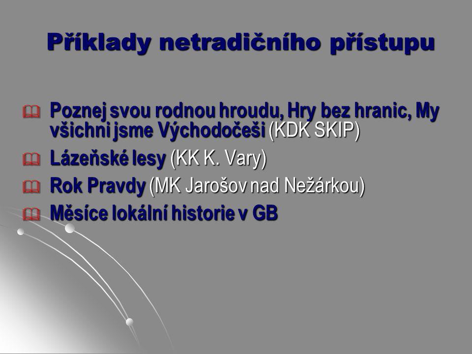 Příklady netradičního přístupu  Poznej svou rodnou hroudu, Hry bez hranic, My všichni jsme Východočeši (KDK SKIP)  Lázeňské lesy (KK K. Vary)  Rok