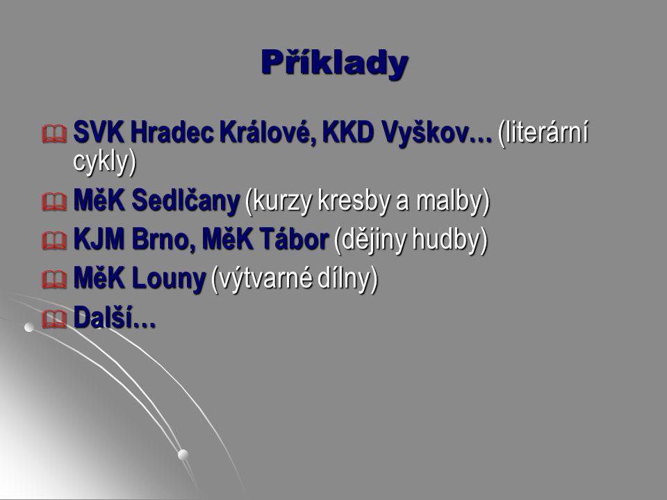 Příklady  SVK Hradec Králové, KKD Vyškov… (literární cykly)  MěK Sedlčany (kurzy kresby a malby)  KJM Brno, MěK Tábor (dějiny hudby)  MěK Louny (v