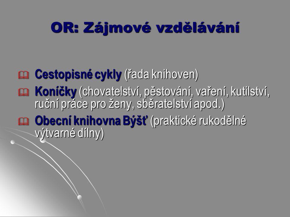 OR: Zájmové vzdělávání  Cestopisné cykly (řada knihoven)  Koníčky (chovatelství, pěstování, vaření, kutilství, ruční práce pro ženy, sběratelství ap