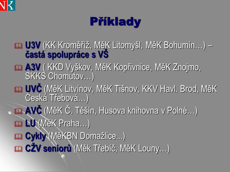 Příklady  U3V (KK Kroměříž, MěK Litomyšl, MěK Bohumín…) – častá spolupráce s VŠ  A3V ( KKD Vyškov, MěK Kopřivnice, MěK Znojmo, SKKS Chomutov…)  UVČ