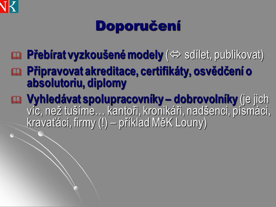 Doporučení  Přebírat vyzkoušené modely (  sdílet, publikovat)  Připravovat akreditace, certifikáty, osvědčení o absolutoriu, diplomy  Vyhledávat s