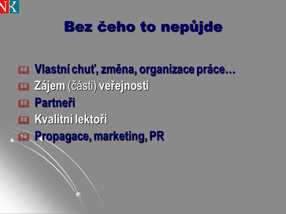 Bez čeho to nepůjde  Vlastní chuť, změna, organizace práce…  Zájem (části) veřejnosti  Partneři  Kvalitní lektoři  Propagace, marketing, PR