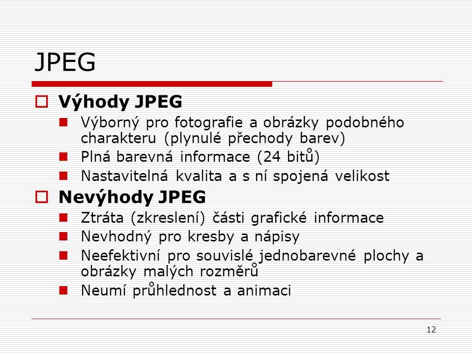 12 JPEG  Výhody JPEG Výborný pro fotografie a obrázky podobného charakteru (plynulé přechody barev) Plná barevná informace (24 bitů) Nastavitelná kva