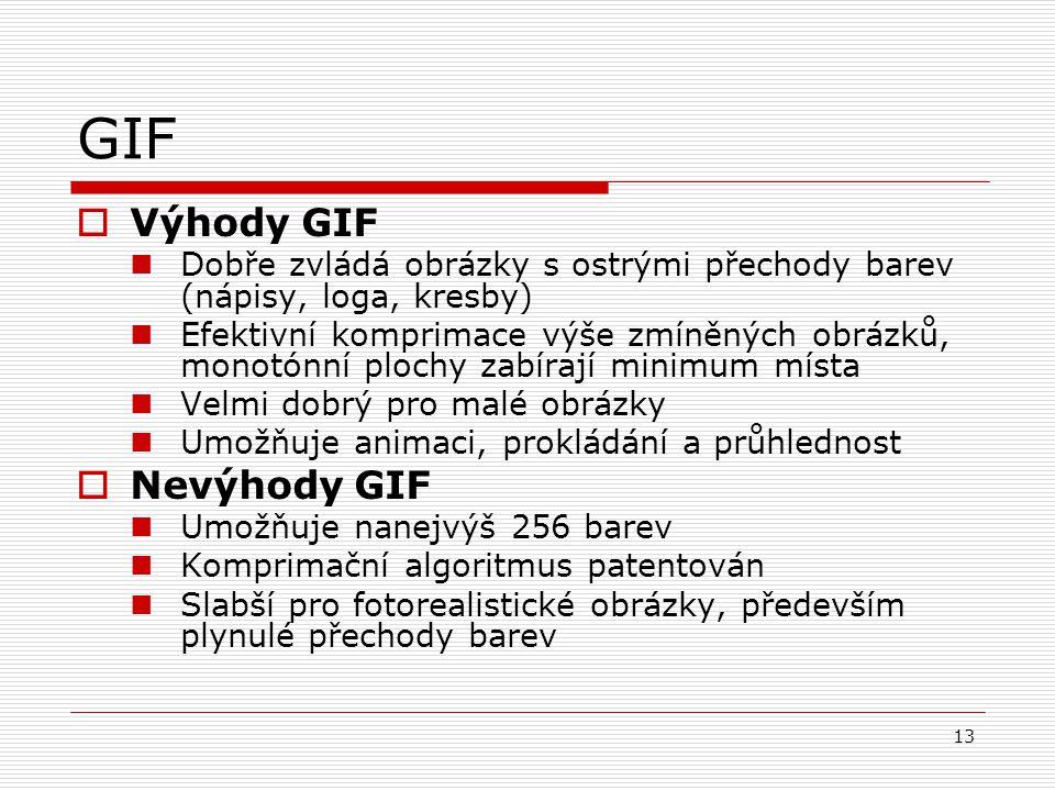 13 GIF  Výhody GIF Dobře zvládá obrázky s ostrými přechody barev (nápisy, loga, kresby) Efektivní komprimace výše zmíněných obrázků, monotónní plochy