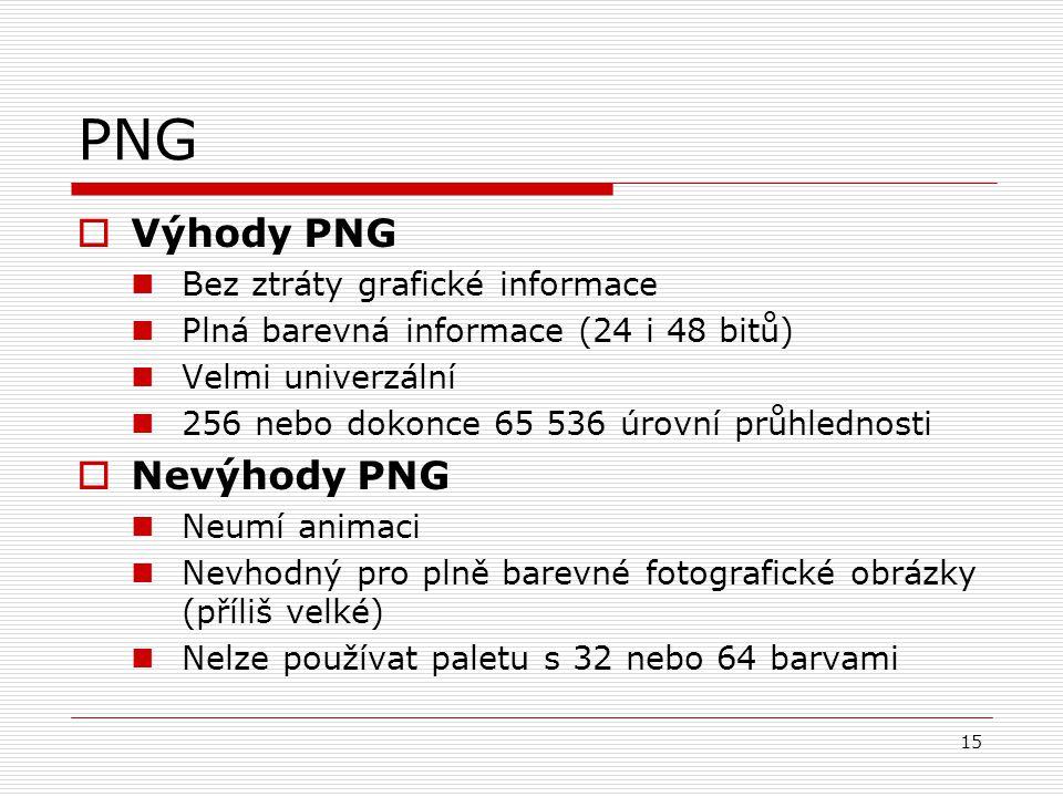 15 PNG  Výhody PNG Bez ztráty grafické informace Plná barevná informace (24 i 48 bitů) Velmi univerzální 256 nebo dokonce 65 536 úrovní průhlednosti