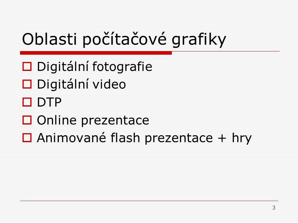 3 Oblasti počítačové grafiky  Digitální fotografie  Digitální video  DTP  Online prezentace  Animované flash prezentace + hry