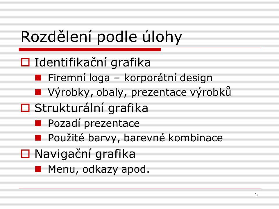 5 Rozdělení podle úlohy  Identifikační grafika Firemní loga – korporátní design Výrobky, obaly, prezentace výrobků  Strukturální grafika Pozadí prez