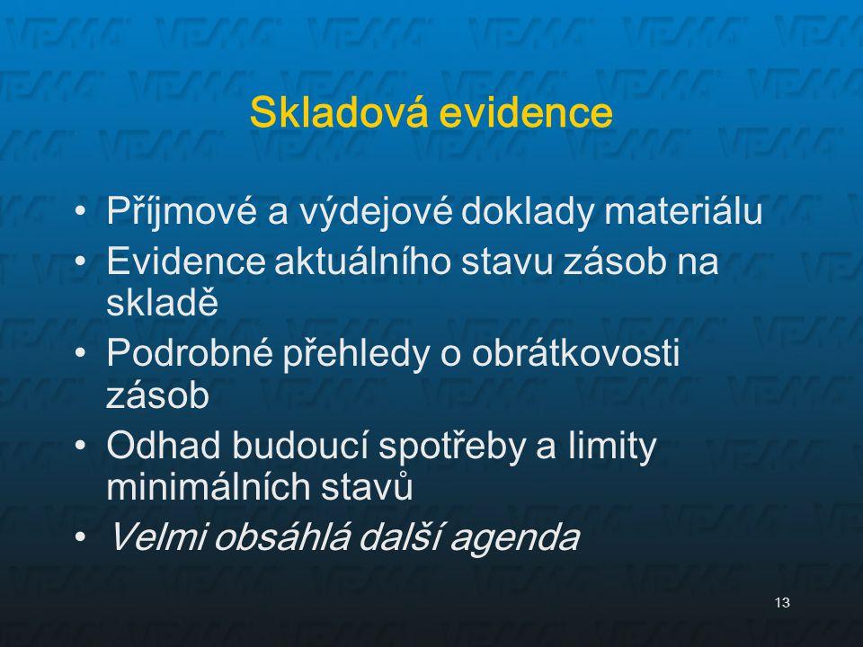 13 Skladová evidence Příjmové a výdejové doklady materiálu Evidence aktuálního stavu zásob na skladě Podrobné přehledy o obrátkovosti zásob Odhad budo