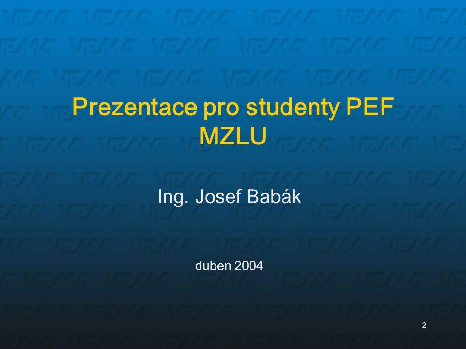 2 Ing. Josef Babák duben 2004 Prezentace pro studenty PEF MZLU