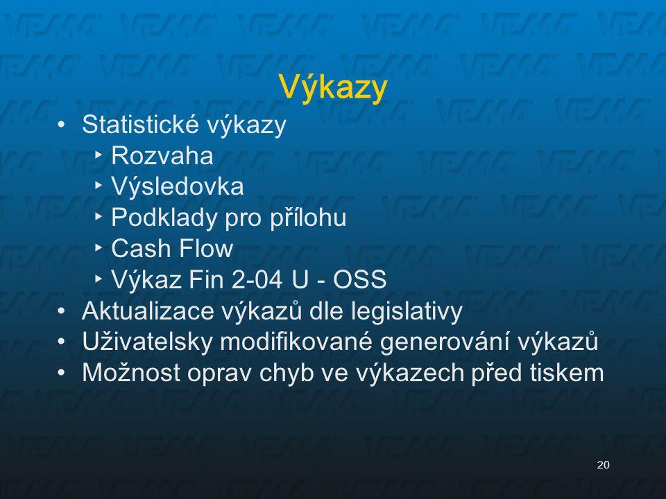 20 Výkazy Statistické výkazy ▸Rozvaha ▸Výsledovka ▸Podklady pro přílohu ▸Cash Flow ▸Výkaz Fin 2-04 U - OSS Aktualizace výkazů dle legislativy Uživatel
