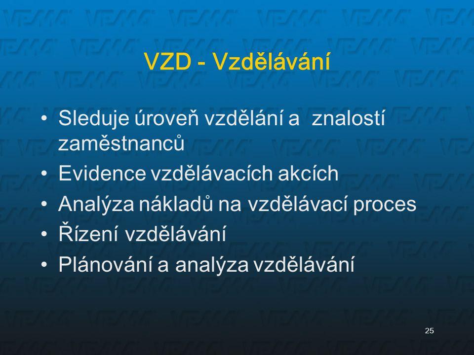 25 VZD - Vzdělávání Sleduje úroveň vzdělání a znalostí zaměstnanců Evidence vzdělávacích akcích Analýza nákladů na vzdělávací proces Řízení vzdělávání