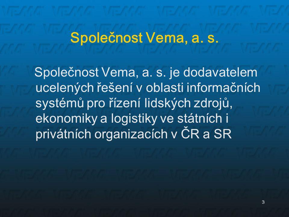 3 Společnost Vema, a. s. Společnost Vema, a. s. je dodavatelem ucelených řešení v oblasti informačních systémů pro řízení lidských zdrojů, ekonomiky a