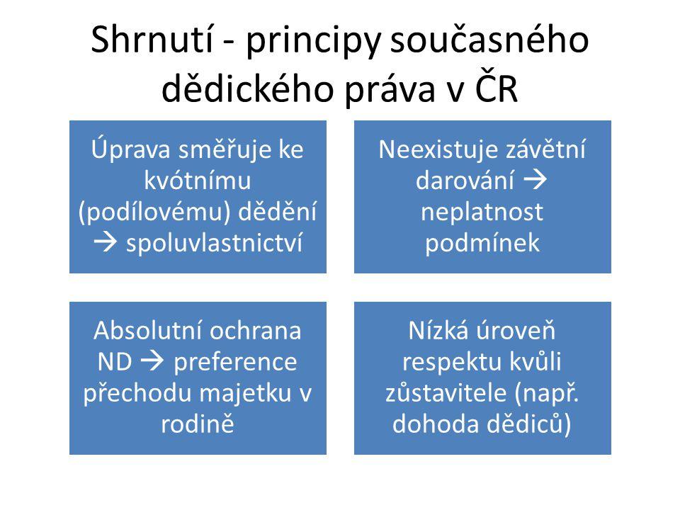 Shrnutí - principy současného dědického práva v ČR Úprava směřuje ke kvótnímu (podílovému) dědění  spoluvlastnictví Neexistuje závětní darování  neplatnost podmínek Absolutní ochrana ND  preference přechodu majetku v rodině Nízká úroveň respektu kvůli zůstavitele (např.
