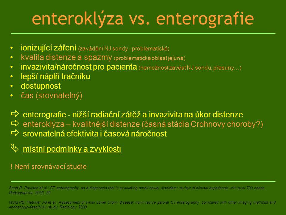 enteroklýza vs. enterografie ionizující záření (zavádění NJ sondy - problematické) kvalita distenze a spazmy (problematická oblast jejuna) invazivita/