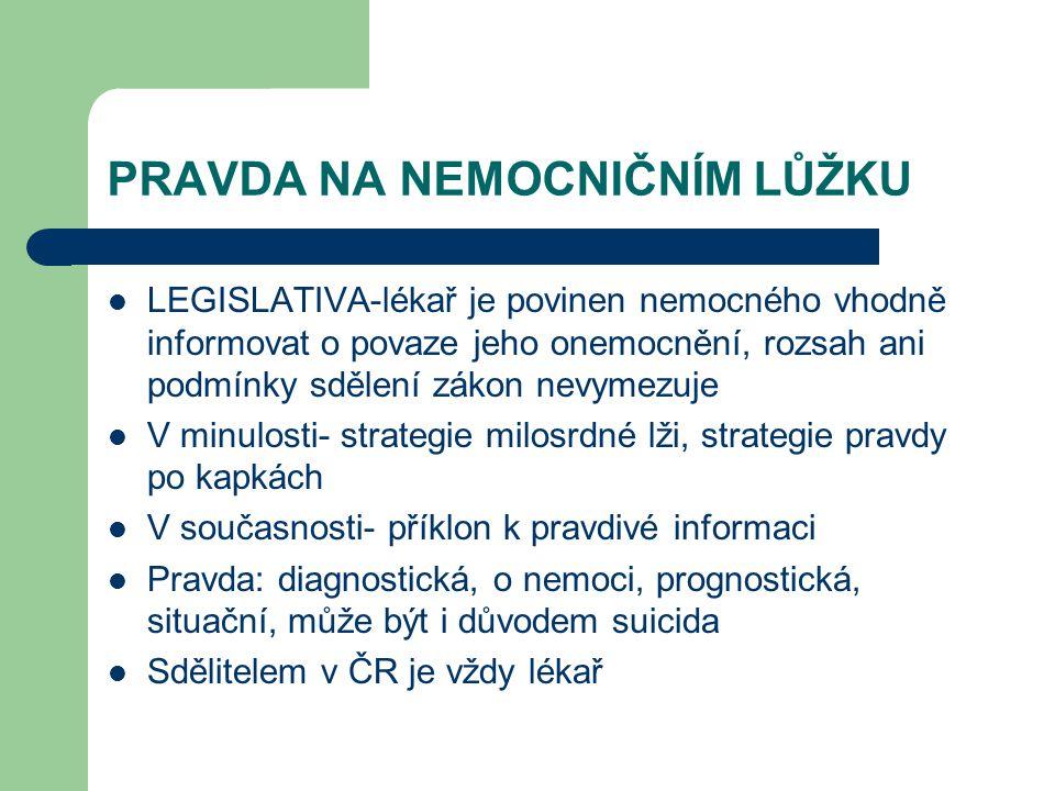 PRAVDA NA NEMOCNIČNÍM LŮŽKU LEGISLATIVA-lékař je povinen nemocného vhodně informovat o povaze jeho onemocnění, rozsah ani podmínky sdělení zákon nevym