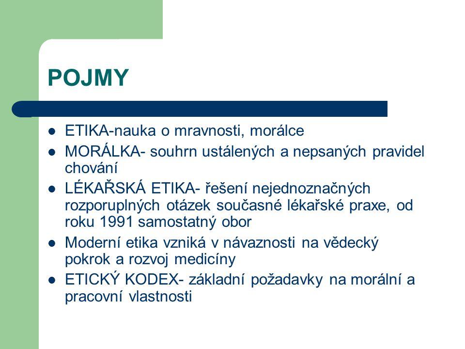 POJMY ETIKA-nauka o mravnosti, morálce MORÁLKA- souhrn ustálených a nepsaných pravidel chování LÉKAŘSKÁ ETIKA- řešení nejednoznačných rozporuplných otázek současné lékařské praxe, od roku 1991 samostatný obor Moderní etika vzniká v návaznosti na vědecký pokrok a rozvoj medicíny ETICKÝ KODEX- základní požadavky na morální a pracovní vlastnosti